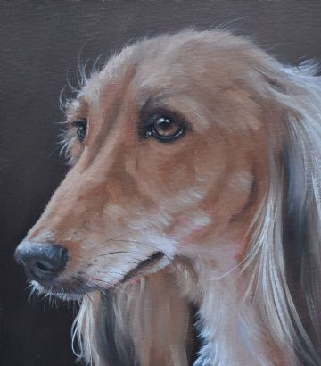 John Silver Original Oil Painting Portrait Of A Saluki Hound Dog